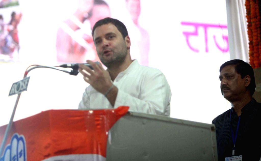 Congress vice president Rahul Gandhi addresses during the inauguration of a auditorium at Mumbai Regional congress committee office in Mumbai, on Jan 15, 2016.