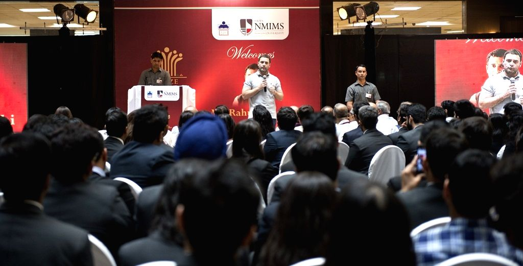 Congress vice president Rahul Gandhi addresses management students of Narsee Monjee Institute of Management Studies (NMIMS) in Mumbai, on Jan 16, 2016.