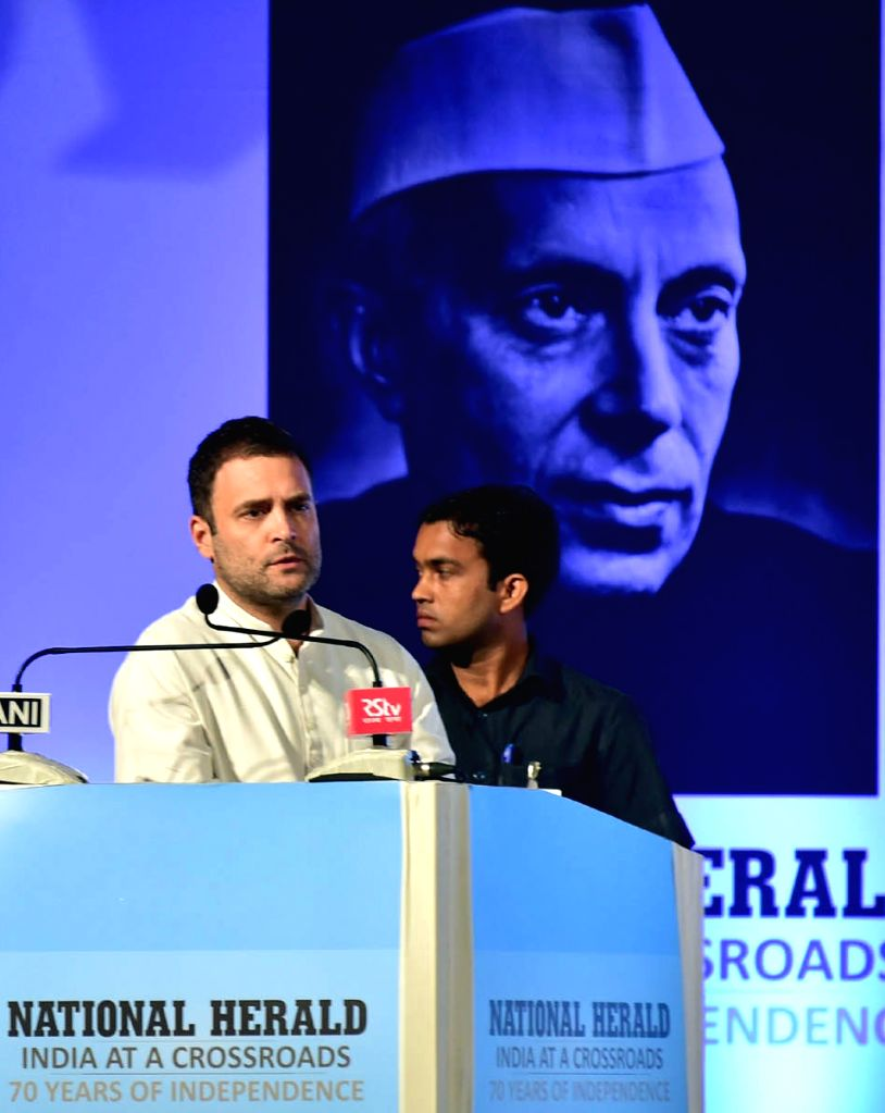 Congress Vice President Rahul Gandhi addresses during the re-launch of National Herald news paper at Ambedkar Bhavan in Bengaluru on June 12, 2017. - Rahul Gandhi