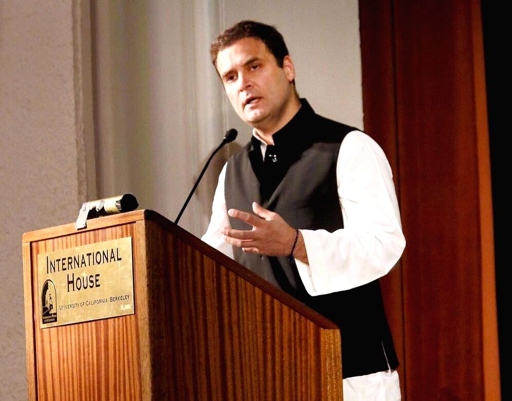 Congress vice president Rahul Gandhi addresses the event 'India at 70: Reflections on the Path Forward' at the University of California, Berkeley on Sept 12, 2017. - Rahul Gandhi