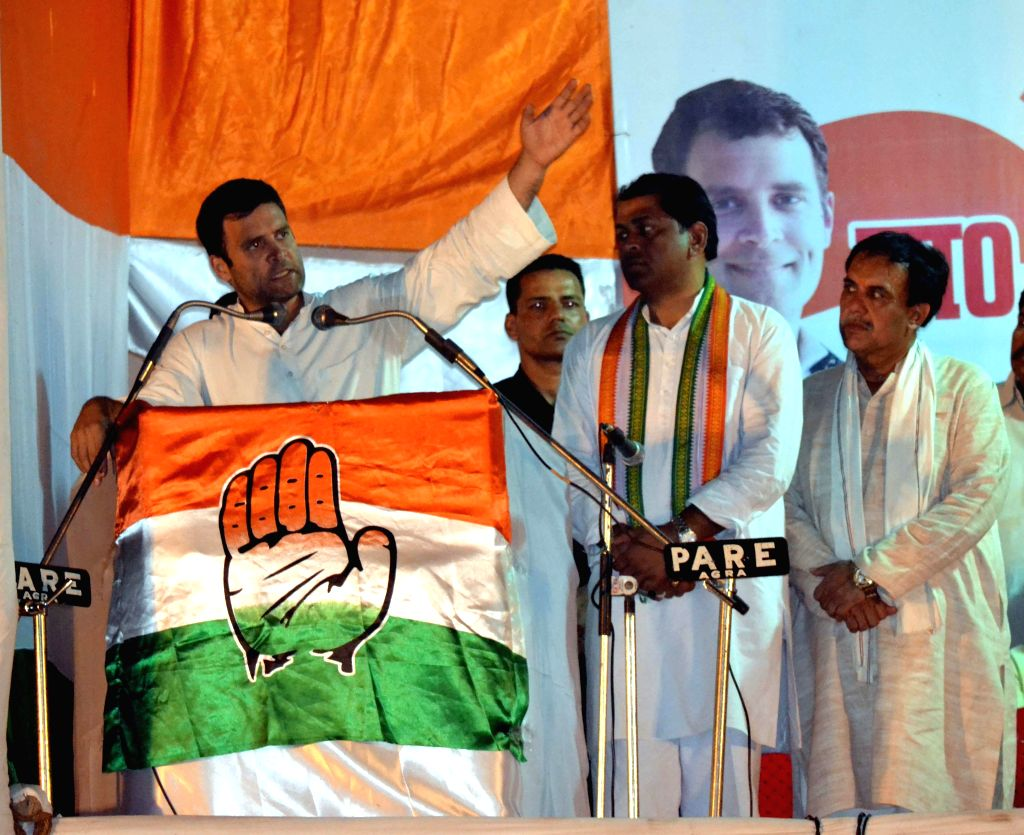 Congress vice president Rahul Gandhi addresses a rally in Agra on April 15, 2014.