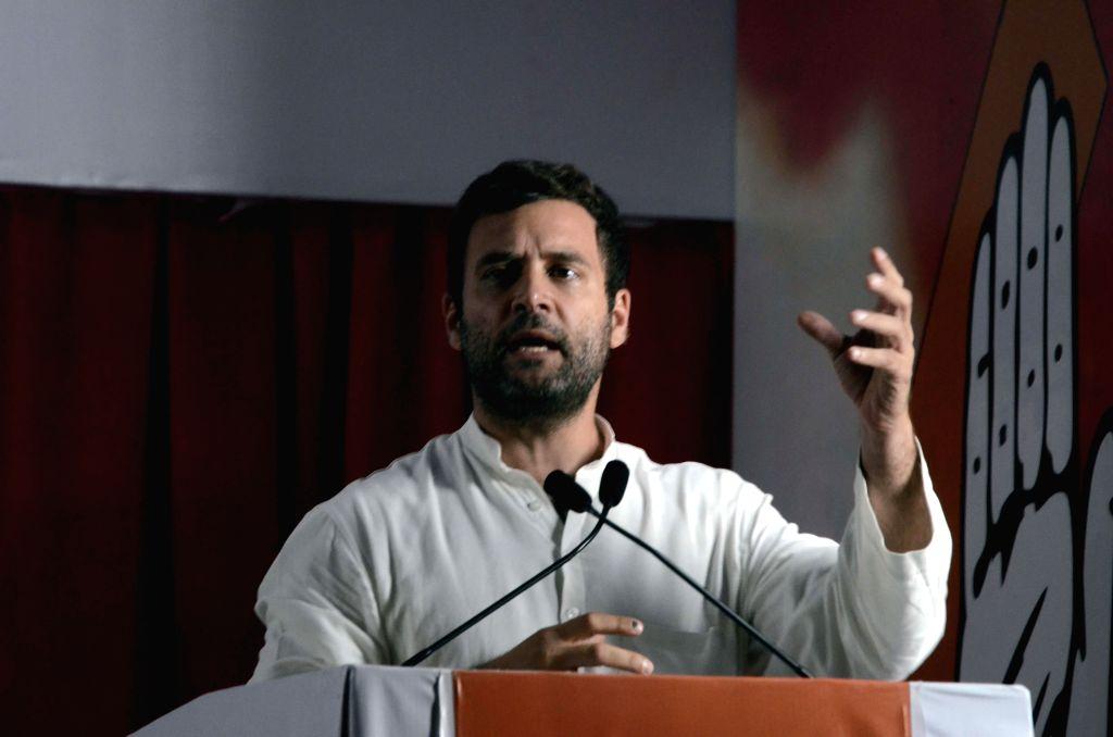 Congress vice president Rahul Gandhi addresses a rally in Mumbai on April 20, 2014.