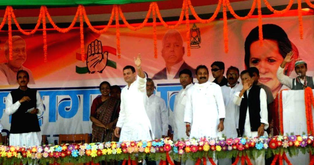 Congress vice president Rahul Gandhi addresses a rally in Araria of Bihar on Nov 2, 2015. - Rahul Gandhi