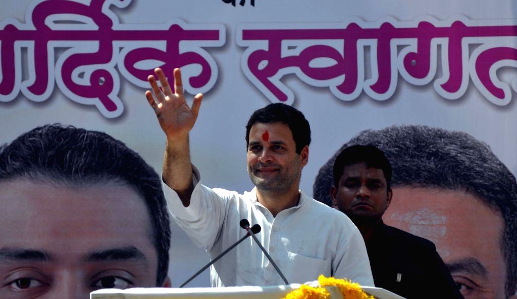 Congress vice president Rahul Gandhi addresses at a jewellers' meeting at Zaveri Bazaar in Mumbai, on April 12, 2016. - Rahul Gandhi