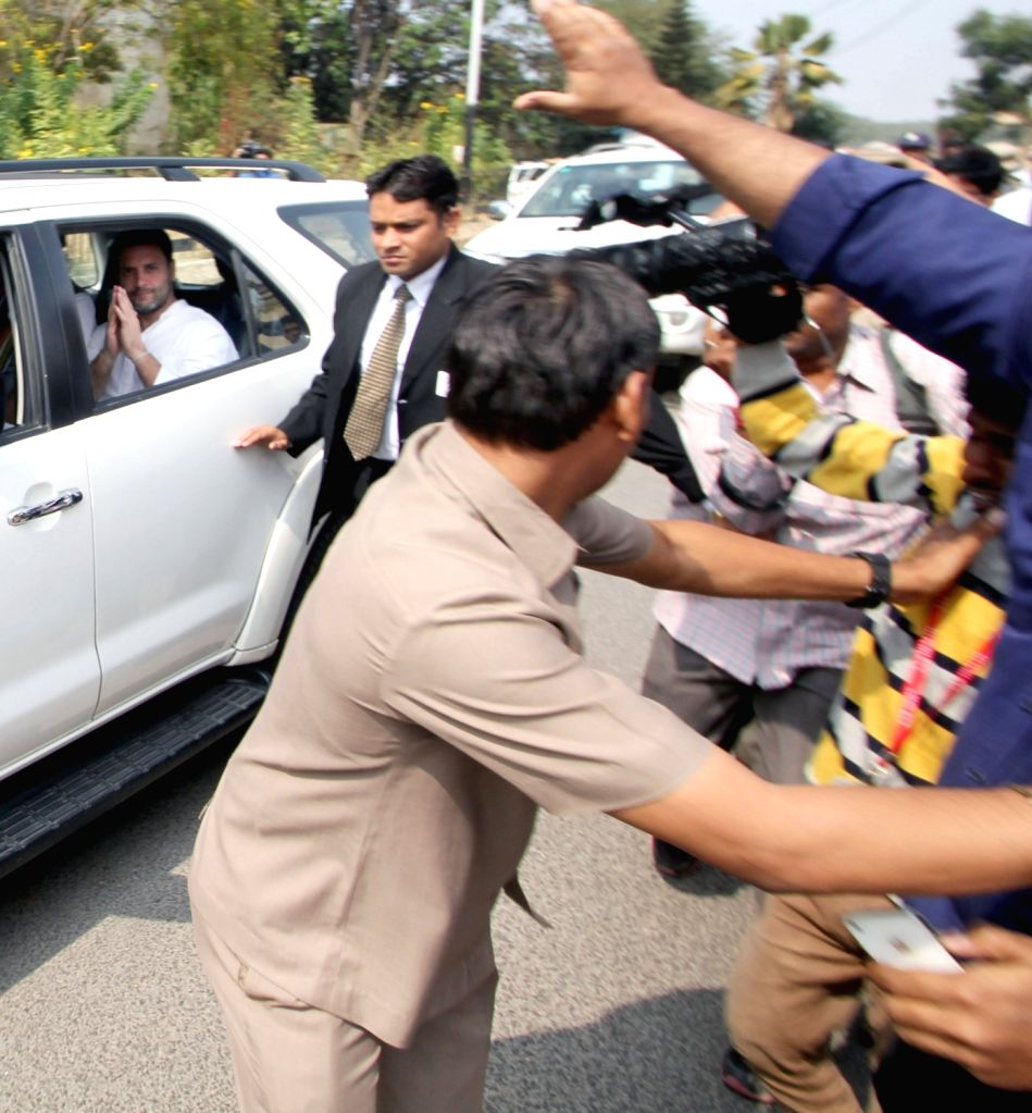 Congress vice president Rahul Gandhi arrives at University of Hyderabad (UoH) where Rohith Vemula, a Dalit research scholar of the university allegedly hanged himself to death after he was ...
