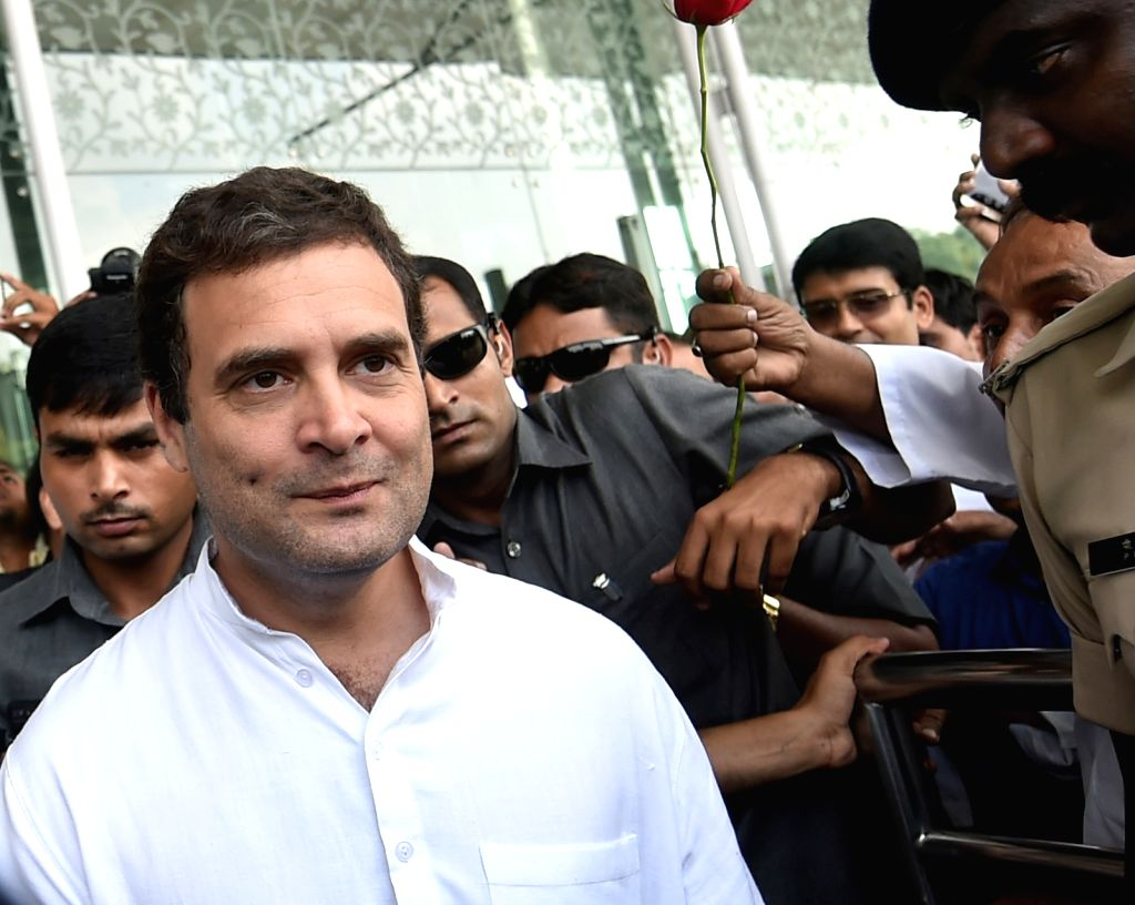 Congress Vice President Rahul Gandhi arrives at the Chaudhary Charan Singh International Airport in Lucknow on Oct 4, 2017. - Rahul Gandhi