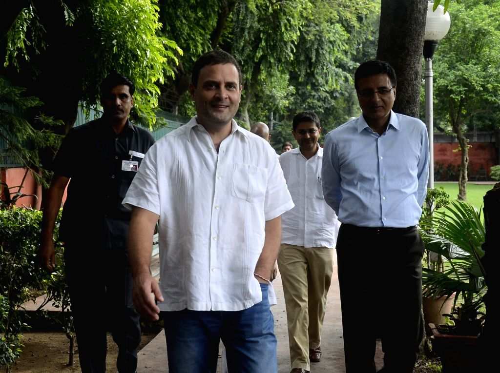 Congress vice president Rahul Gandhi arrives to talk to press at party office in New Delhi on Aug 2, 2017. - Rahul Gandhi