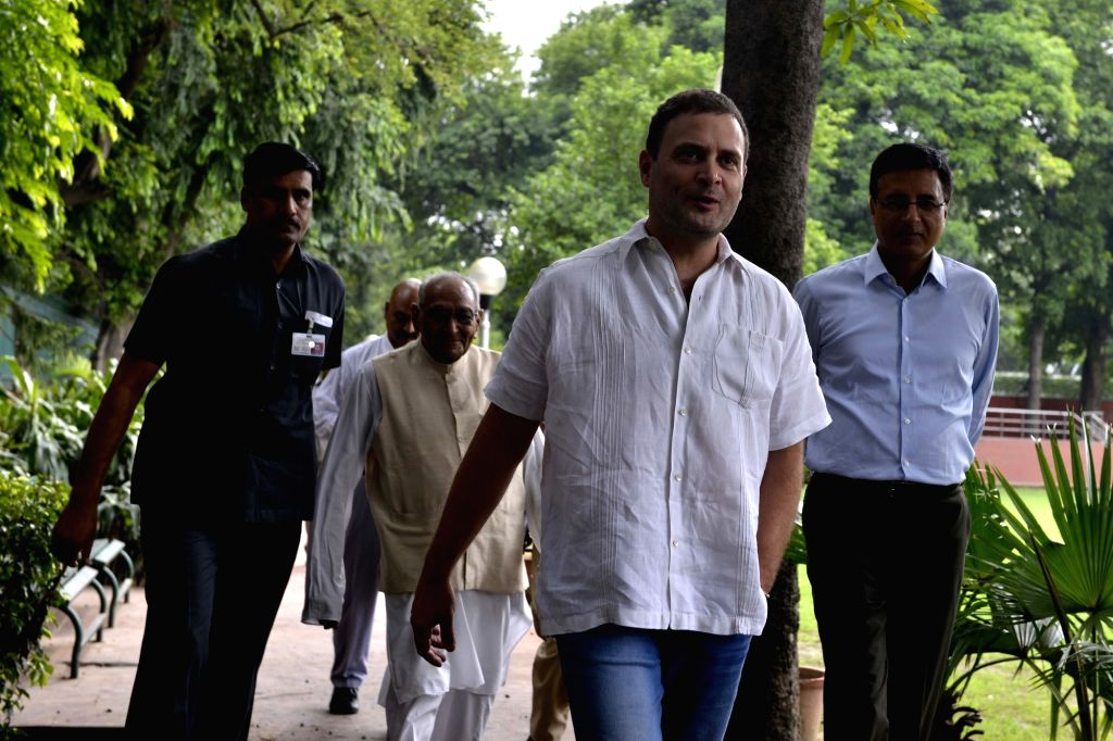 Congress Vice President Rahul Gandhi arrives to attend a party meeting in New Delhi on Aug 2, 2017. - Rahul Gandhi