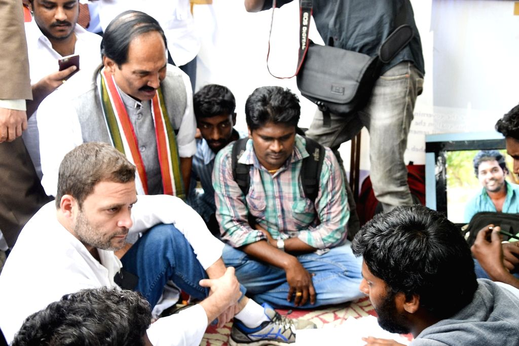 Congress vice president Rahul Gandhi at University of Hyderabad (UoH) where Rohith Vemula, a Dalit research scholar of the university allegedly hanged himself to death after he was ...
