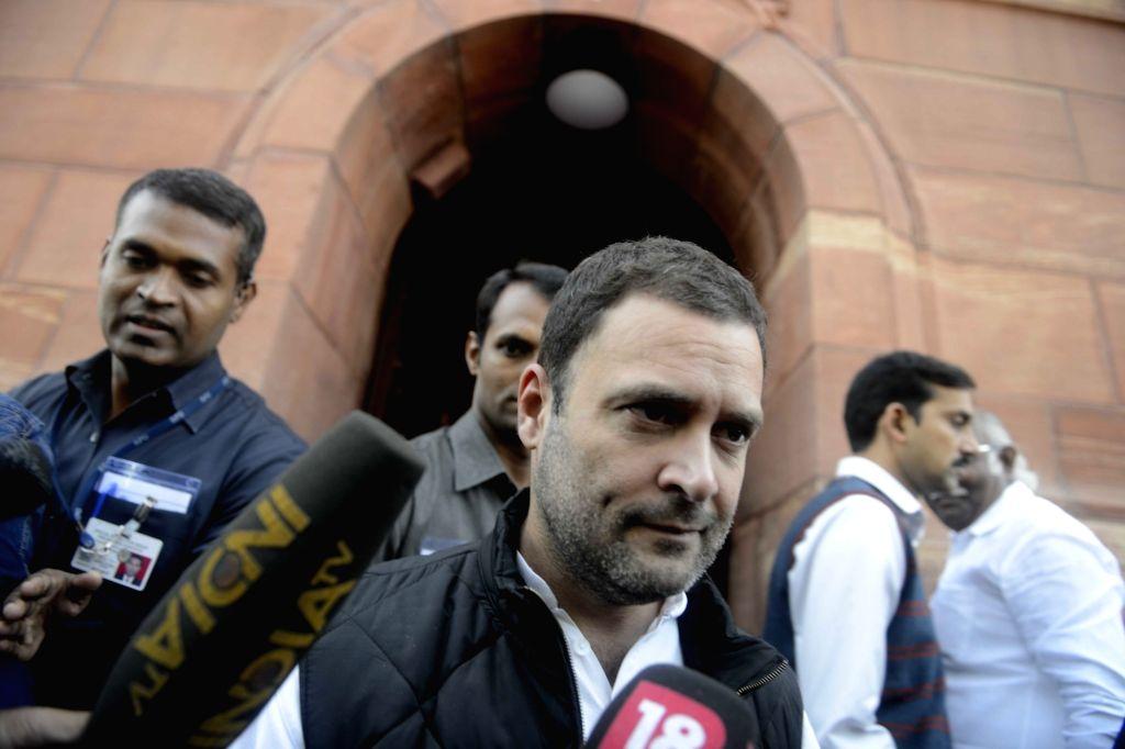 Congress vice president Rahul Gandhi at Parliament in New Delhi on Nov 22, 2016. - Rahul Gandhi