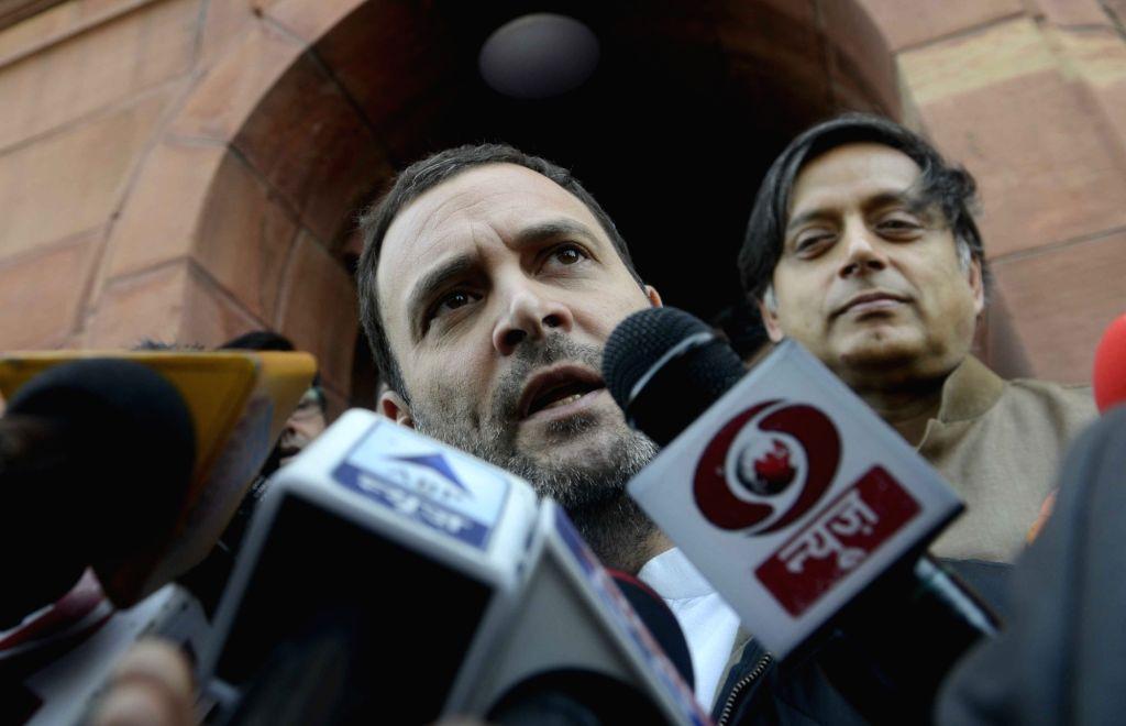 Congress vice president Rahul Gandhi at Parliament in New Delhi on Nov 25, 2016. - Rahul Gandhi