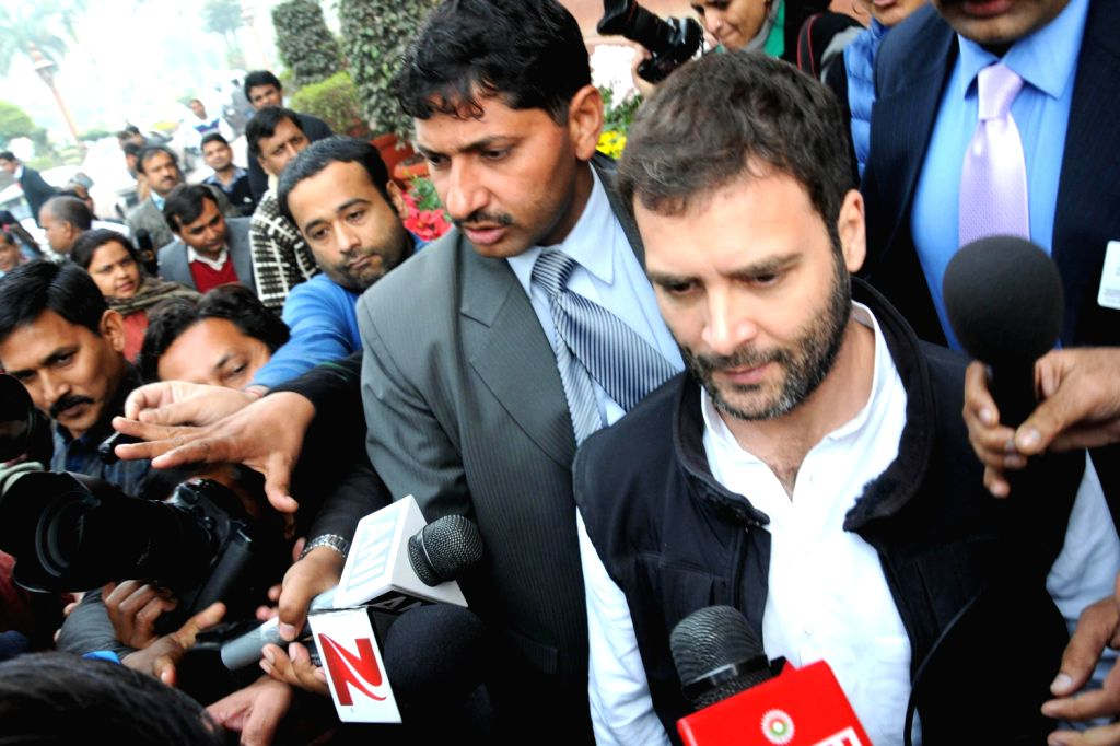 Congress Vice President Rahul Gandhi at the Parliament House after Lokpal Bill was passed in the Lok Sabha in New Delhi on Dec.18, 2013.