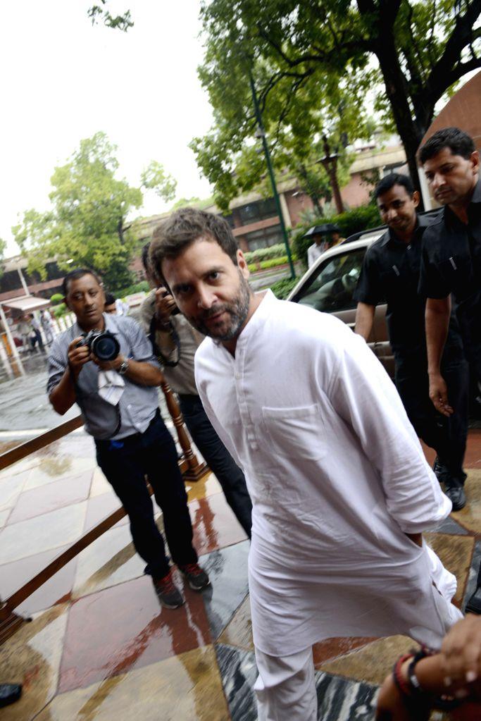 Congress vice president Rahul Gandhi at the Parliament in New Delhi, on Aug 11, 2015. - Rahul Gandhi