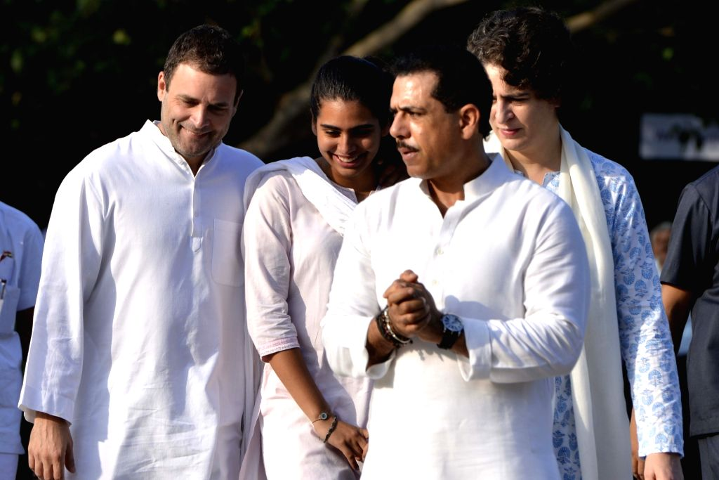 Congress vice president Rahul Gandhi, Congress leader Priyanka Gandhi along with her husband Robert Vadra and daughter Miraya Vadra pay tribute to former Prime Minister late Rajiv Gandhi ... - Rahul Gandhi and Priyanka Gandhi