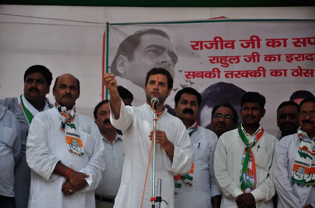 Congress vice-president Rahul Gandhi during a rally in Amethi of Uttar Pradesh on May 4, 2014.
