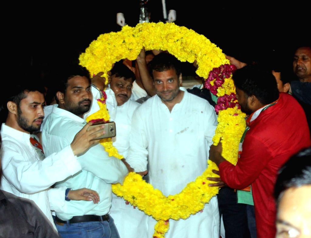 Congress vice president Rahul Gandhi during a roadshow in Mathura on Sept 30, 2016. - Rahul Gandhi