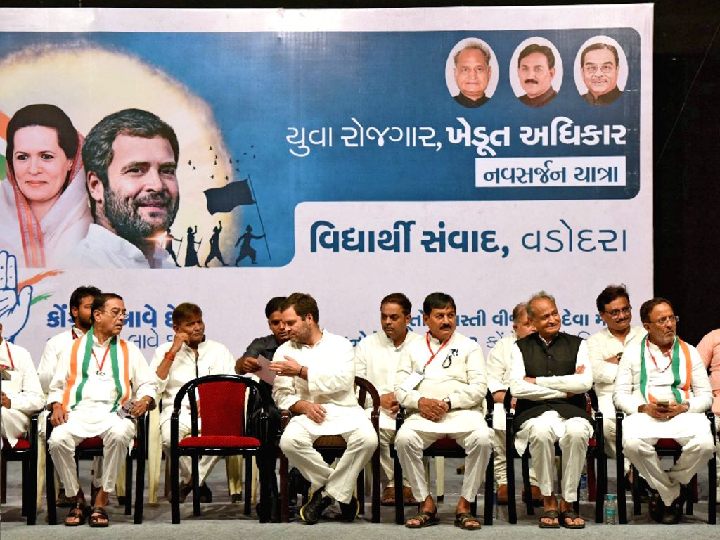 Congress Vice President Rahul Gandhi during an interaction with students at in Vadodara of Gujarat on Oct 10, 2017. - Rahul Gandhi
