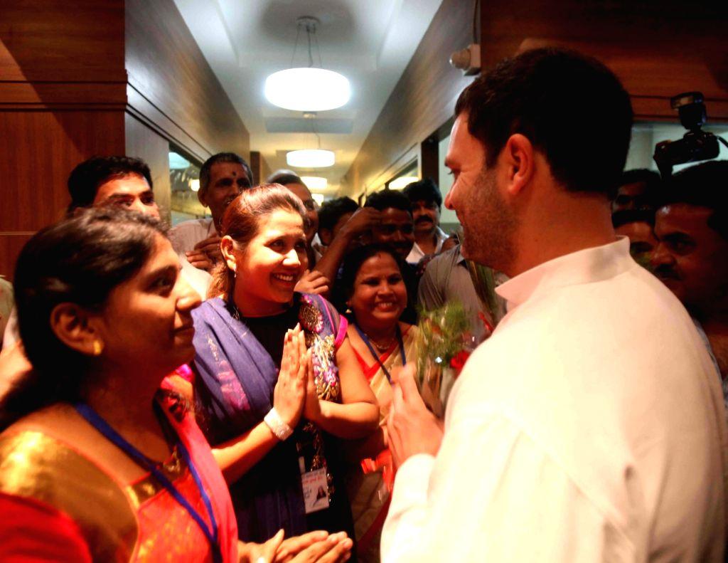 Congress vice president Rahul Gandhi during the inauguration of a auditorium at Mumbai Regional congress committee office in Mumbai, on Jan 15, 2016.