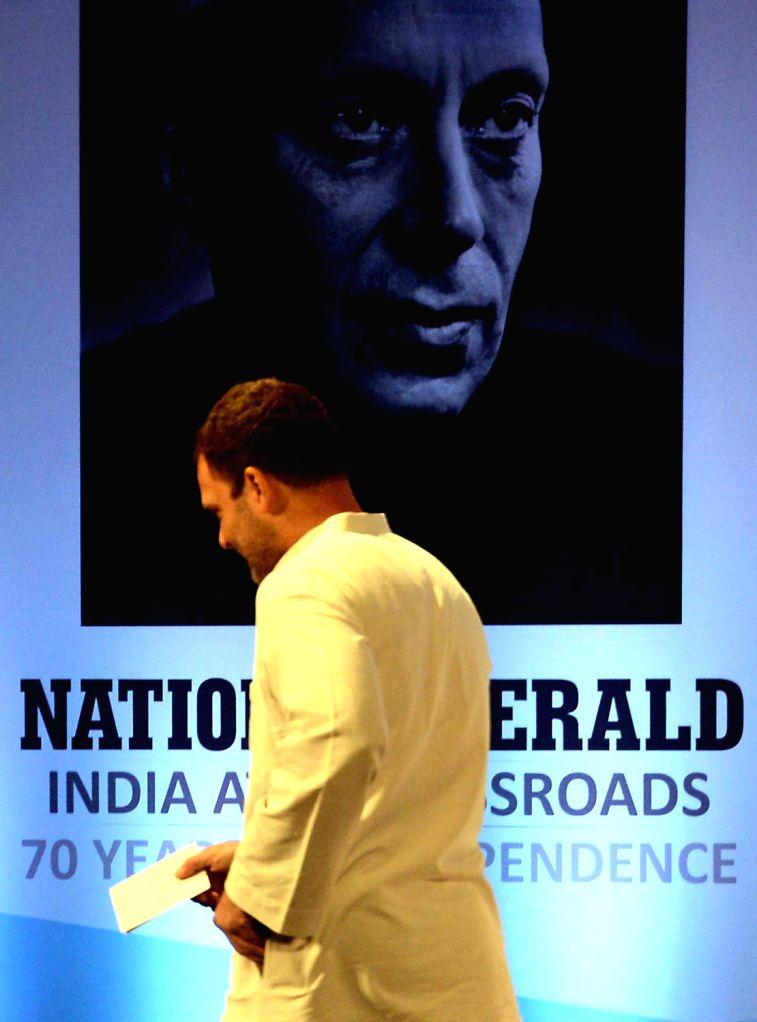 Congress Vice President Rahul Gandhi during the re-launch of National Herald news paper at Ambedkar Bhavan in Bengaluru on June 12, 2017. - Rahul Gandhi