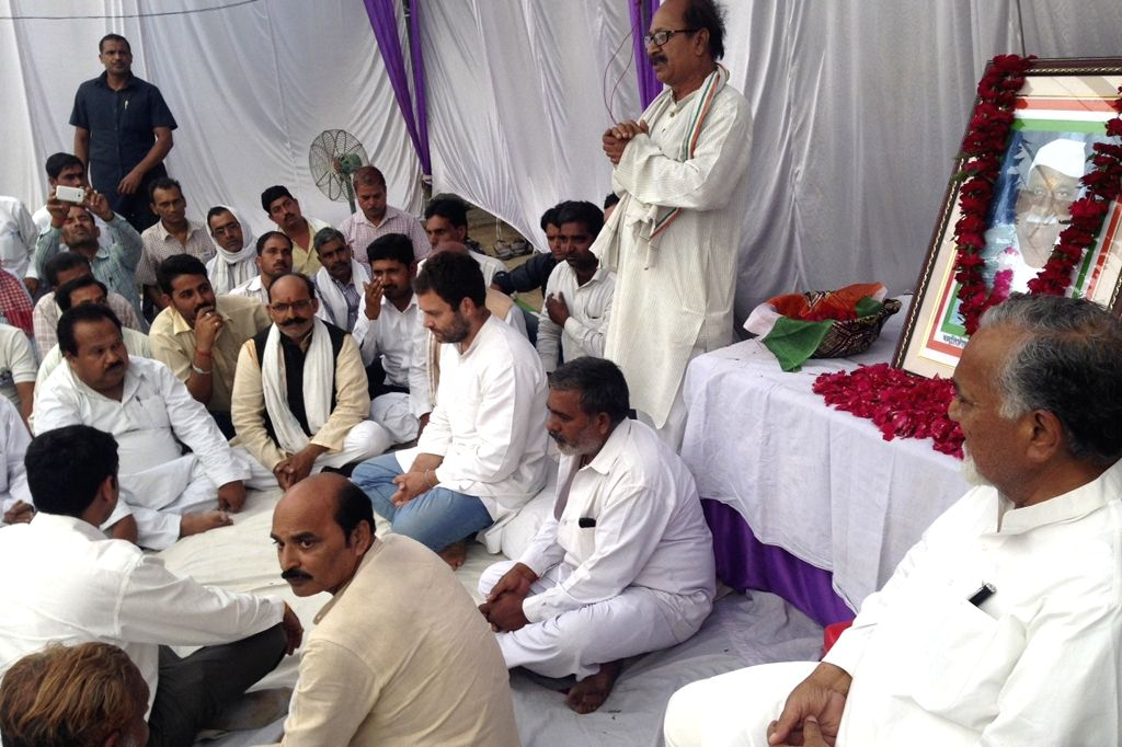 Congress vice president Rahul Gandhi interacts with people in Amethi on April 21, 2016. - Rahul Gandhi