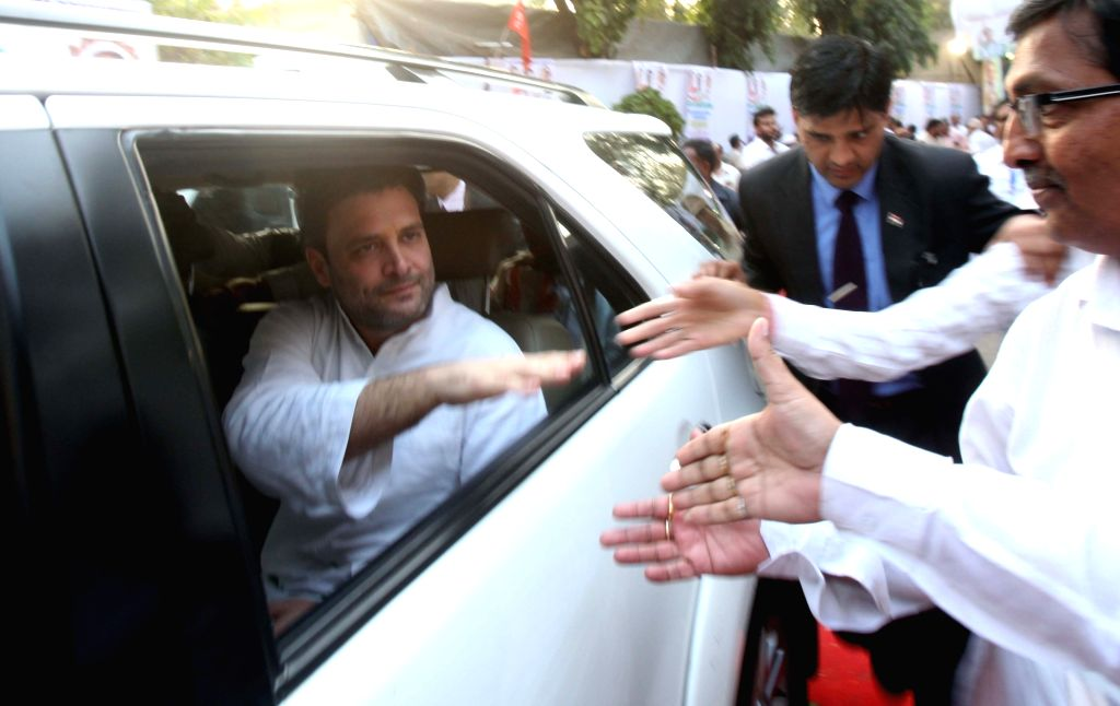 Congress vice president Rahul Gandhi leaves after the inauguration of a auditorium at Mumbai Regional congress committee office in Mumbai, on Jan 15, 2016.