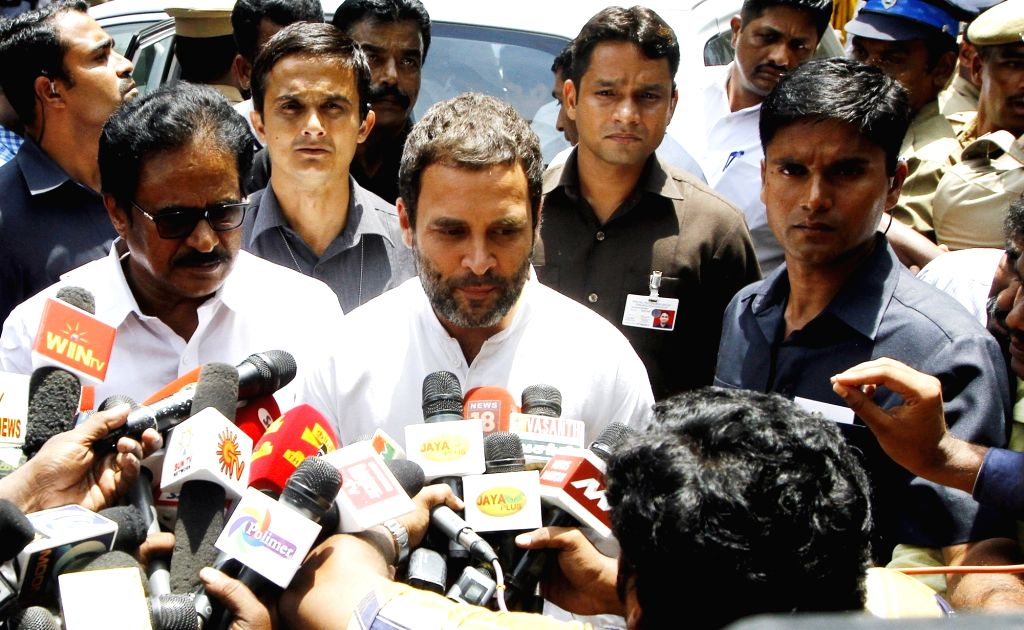 Congress vice president Rahul Gandhi talks to press in Chennai on Oct 7, 2016. He met  Tamil Nadu Chief Minister J. Jayalalithaa who is admitted to a Chennai Hospital since September 22. - J. Jayalalithaa and Rahul Gandhi