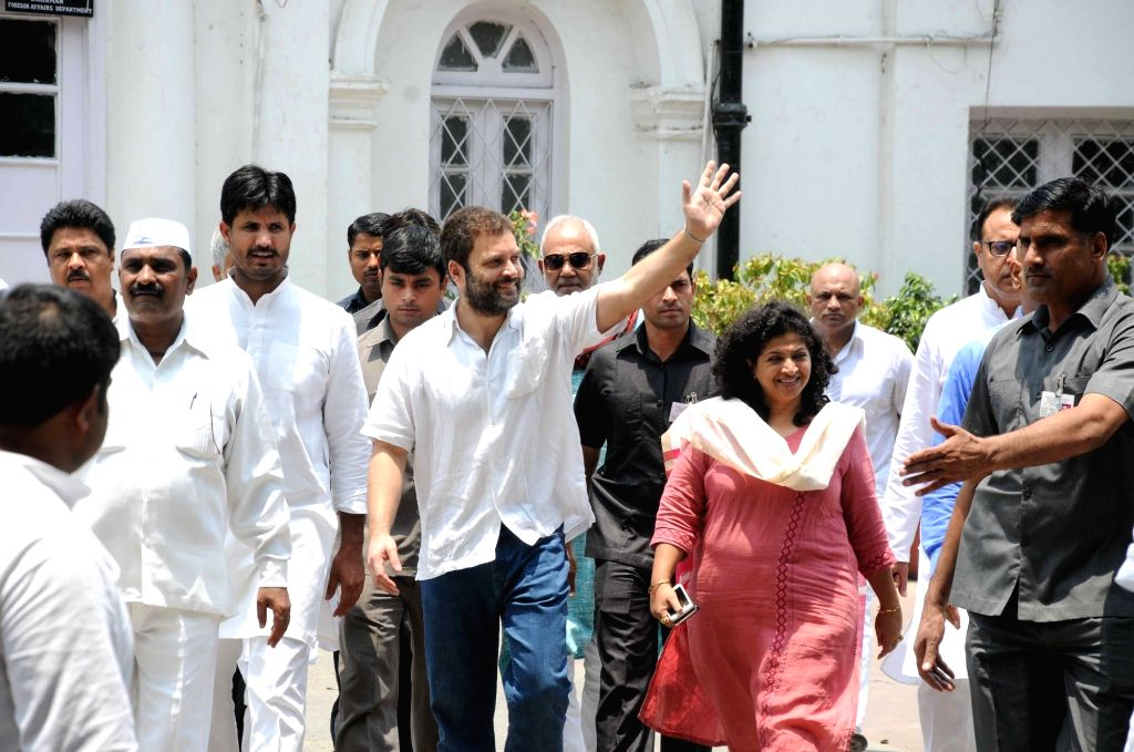Congress Vice President Rahul Gandhi waves at party workers on his birthday at Congress Headquarters in New Delhi, on June 19, 2016. - Rahul Gandhi