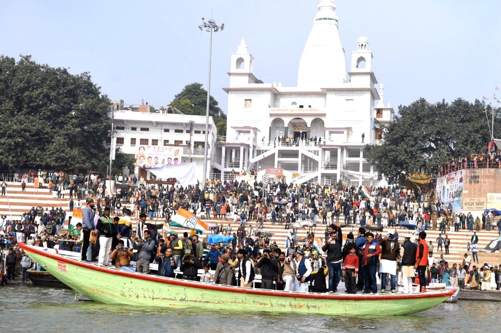 Congress workers and supporters gather outside the Sant Shiromani Guru Ravidas Temple during party General Secretary Priyanka Gandhi Vadra's visit, at Rajghat in Varanasi on Jan 10, 2020.