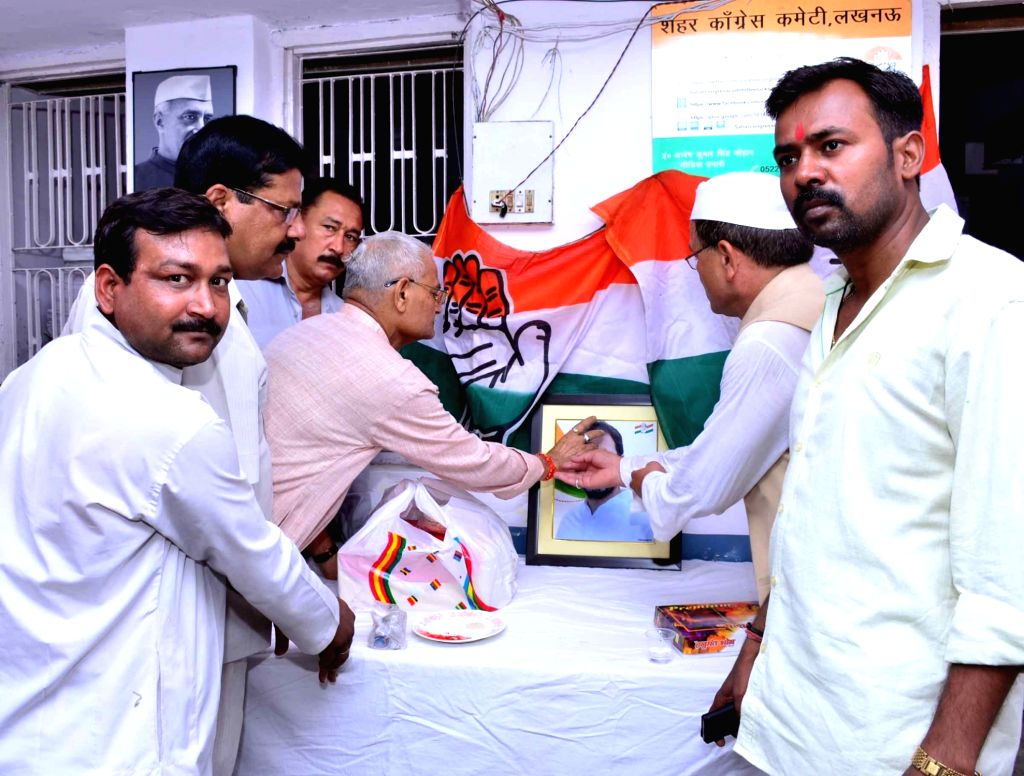 Congress workers celebrate party vice president Rahul Gandhi's birthday in Lucknow on June 19, 2016. - Rahul Gandhi