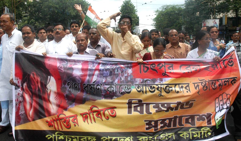 Congress workers demonstrate against alleged deterioration in law and order situation of West Bengal, in Kolkata on July 31, 2014.