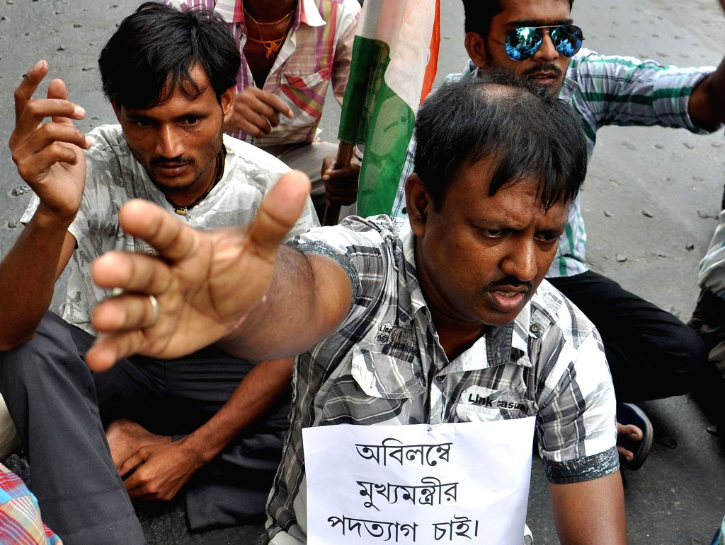 Congress workers demonstrate against Mamata Banerjee led West Bengal Government at Salt Lake in Kolkata on Sept 12, 2014. - Mamata Banerjee