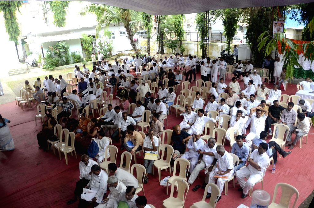 Congress workers during a party meeting in Mumbai on Aug 19, 2014.