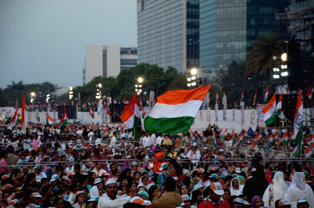 Congress workers during a party rally in Mumbai, on March 1, 2019.