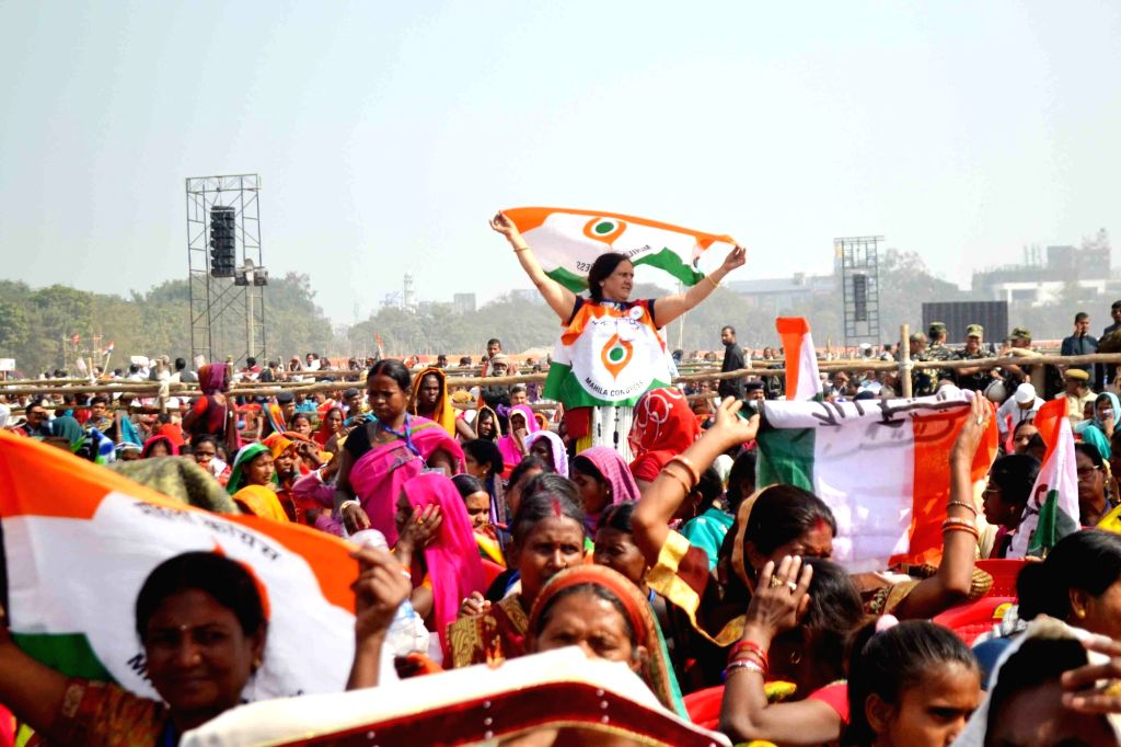 Congress workers participate in a party rally in Patna on Feb 3, 2019.