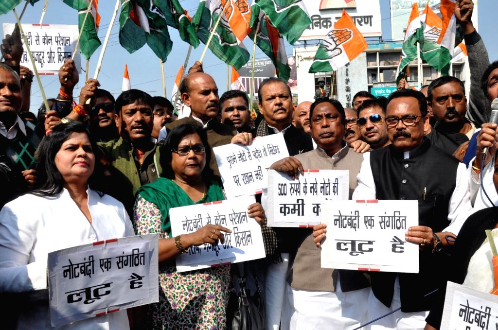 Congress workers stage a demonstration against demonetisation in Ranchi, on Nov 28, 2016.