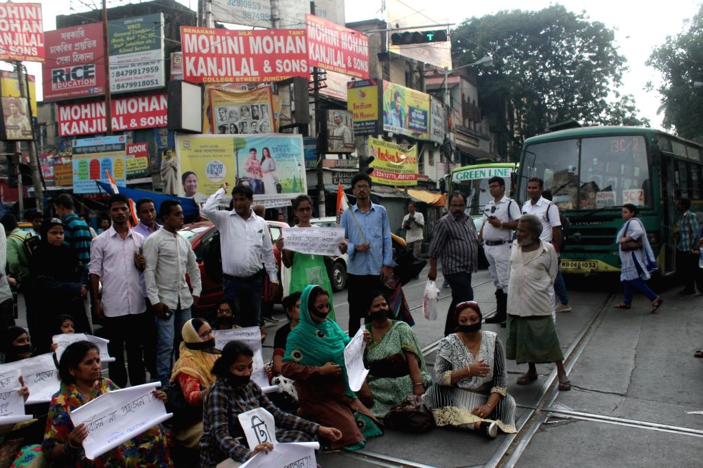 Congress workers stage a demonstration against West Bengal government in Kolkata, on May 17, 2017.