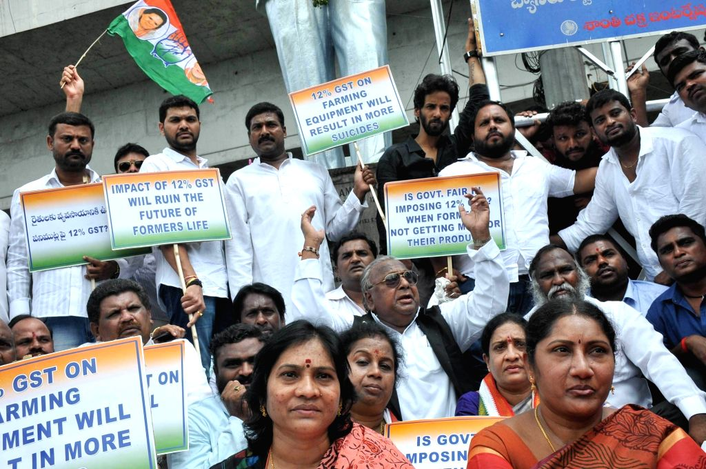 Congress workers stage a demonstration against GST in Hyderabad on June 22, 2017.