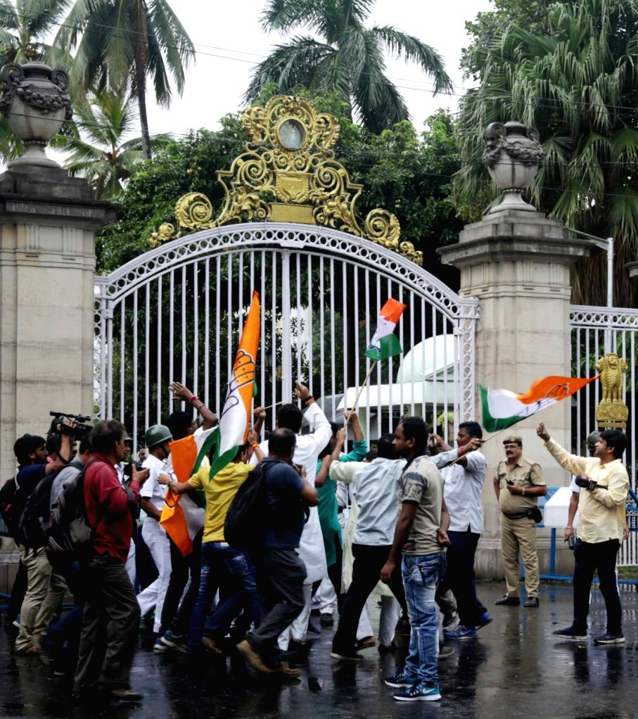 Congress workers stage a demonstration against hike in the prices of petrol and diesel; at Raj Bhawan in Kolkata on May 31, 2018.