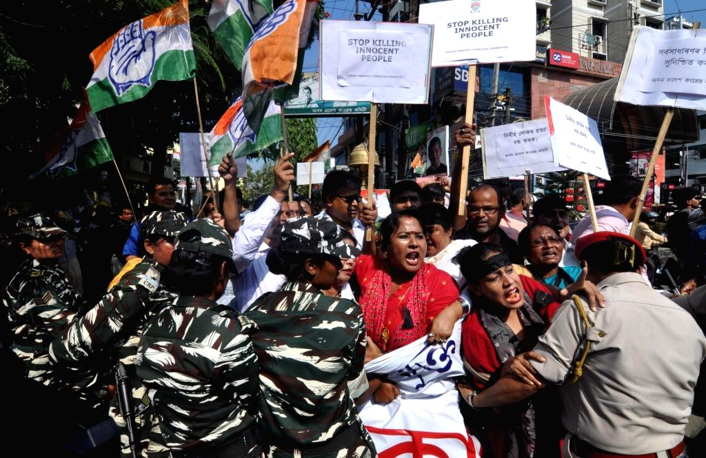 Congress workers stage a demonstration against the killing of five people by militants in Tinsukia district of Assam; in Guwahati on Nov 2, 2018.