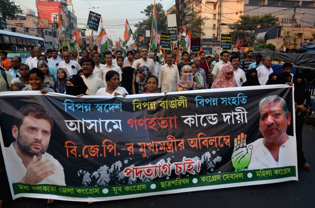 Congress workers stage a demonstration against the killing of five people by militants in Kherbari of Assam's Tinsukia district; in Kolkata on Nov 3, 2018.