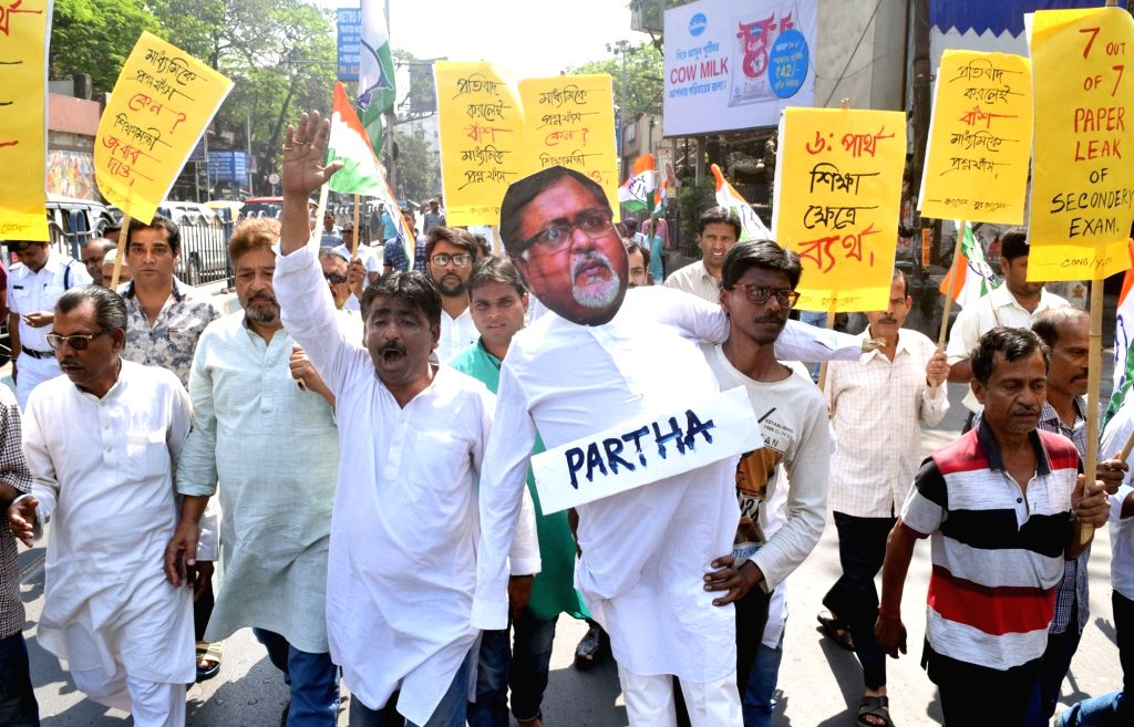 Congress workers stage a demonstration against West Bengal Education Minister Partha Chatterjee on the alleged leak of question papers in the recently concluded Madhyamik - class 10 ... - Partha Chatterjee
