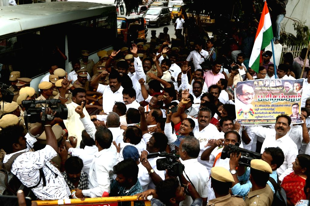 Congress workers stage a demonstration against the arrest of senior party leader P. Chidambaram, in Chennai on Sep 6, 2019.