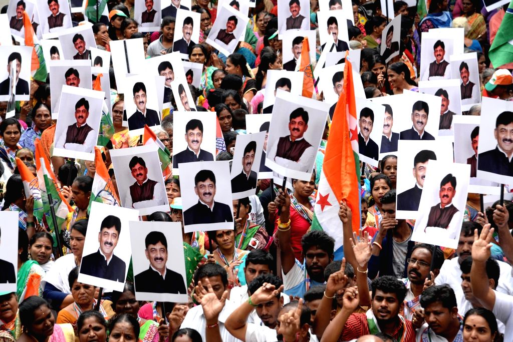 Congress workers stage a demonstration against the Central Government and the Enforcement Directorate (ED) over the arrest of party leader D. K. Shivakumar, in Bengaluru on Sep 9, 2019.