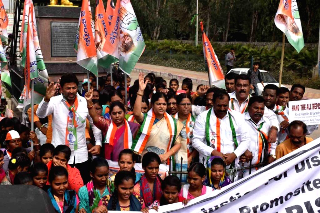Congress workers stage a demonstration against the gruesome gang rape and murder of a woman veterinarian in Hyderabad; in Hyderabad on Dec 3, 2019.