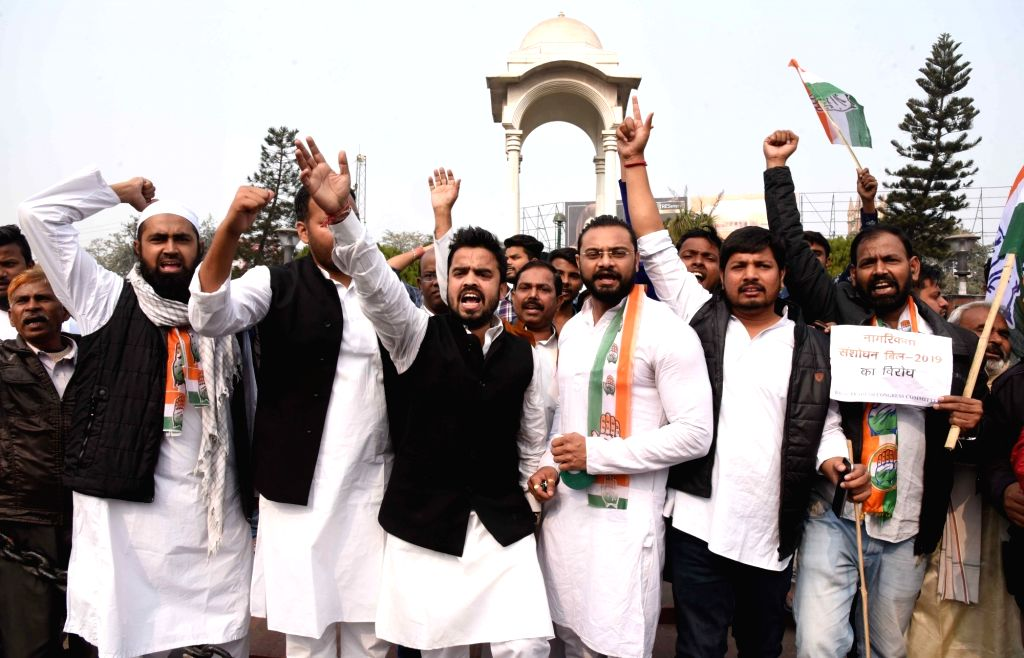 Congress workers stage a demonstration against the Citizenship (Amendment) Bill 2019, in Patna on Dec 11, 2019.