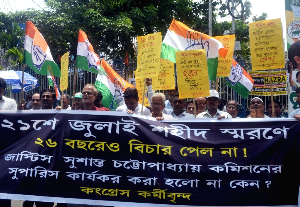 Congress workers stage a demonstration demanding justice for the 13 Youth Congress leaders who died at 21 July 1993; in Kolkata on July 18, 2019.