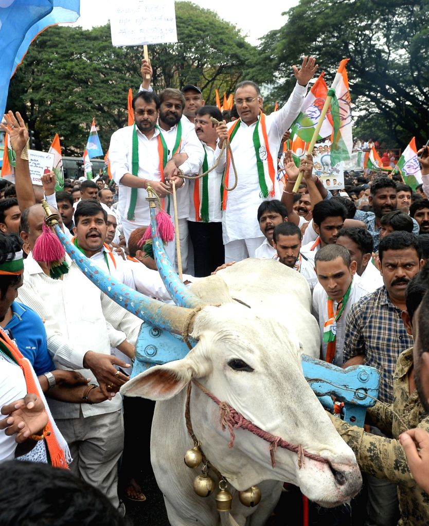 Congress workers stage a demonstration during a day-long 'Bharat Bandh' or nationwide shutdown called by the Congress and Left parties to protest against rising fuel prices, in Bengaluru, ...