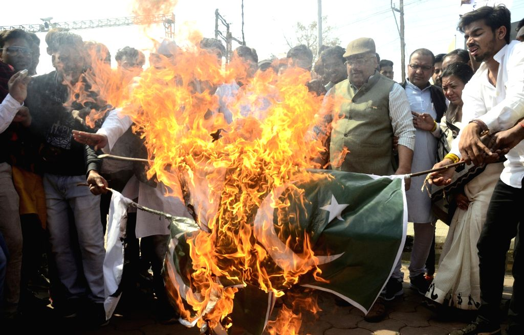 Congress workers stage a protest against suicide attack on a CRPF bus in Jammu and Kashmir's Pulwama district in which 45 soldiers lost their lives; in Bhopal on Feb 15, 2019.