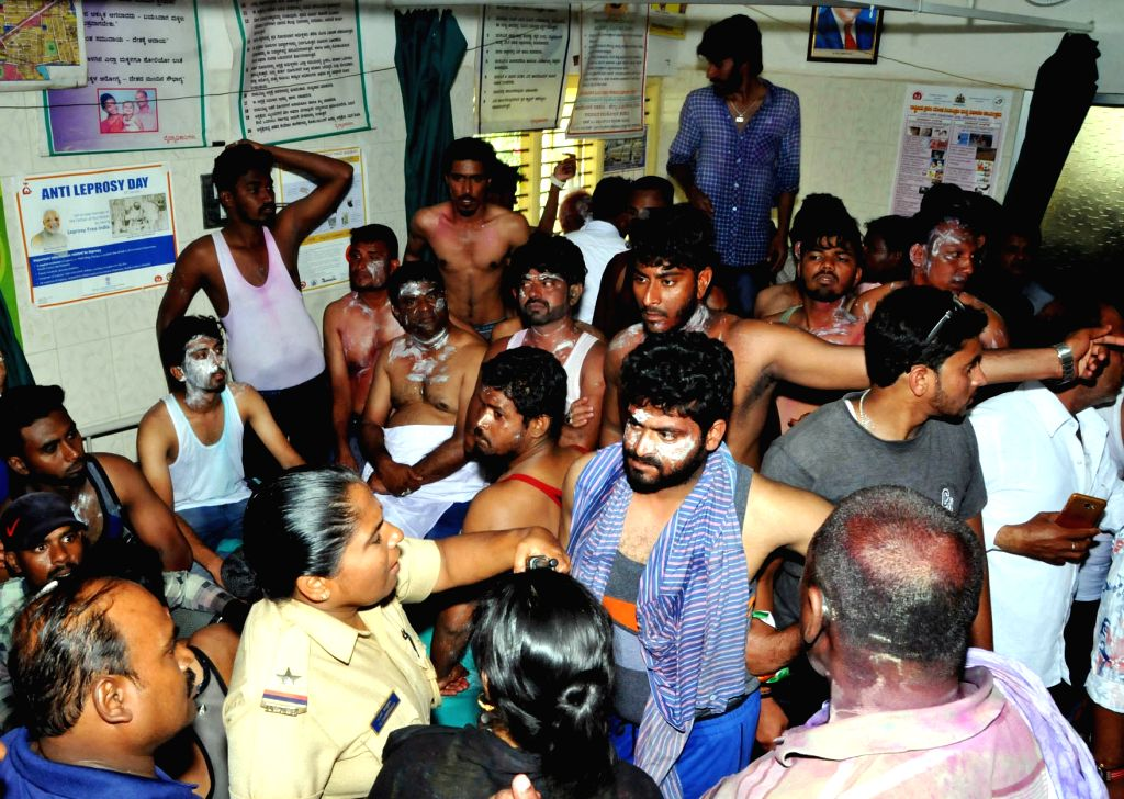 Congress workers who sustained burn injuries in an acid attack on a party rally after the results of the elections to urban local bodies in Karnataka were announced in Tumkur, Karnataka on ...