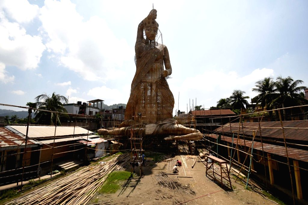 Construction of a 100 ft tall idol of goddess Durga underway ahead of Durga Puja in Bishnupur, Assam on Sept 16, 2017.